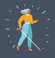 blind woman with stick vector image vector image