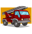 cartoon red cargo truck with metal ladder vector image vector image