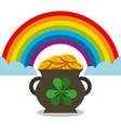 cauldron full gol coins rainbow magic vector image