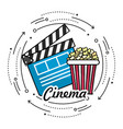 clapperboard with popcorn to cinematography film vector image vector image