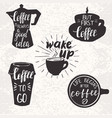 coffee elements and hand lettering vector image
