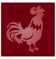 Cut paper rooster on red background vector image