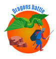 dragons battle round background vector image vector image