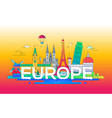 europe - flat design composition with landmarks vector image