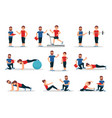 flat set of people in gym with personal vector image vector image
