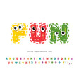 funny font for kids cute monster characters vector image