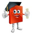 graduation book mascot vector image vector image