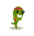 green humanized cactus running with smiling face vector image vector image