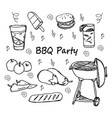 hand drawn doodle bbq party icons set vector image vector image