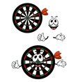 happy cartoon colorful darts target character vector image vector image