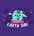 happy earth day greeting card with cute cartoon vector image