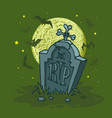 happy halloween in creepy forest at horror night vector image