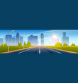 highway empty road to city with high skyscrapers vector image vector image