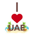 i love uae travel palm summer lounge chair vector image vector image