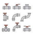 icons of pipe connector valve for plumbing vector image vector image