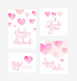 invitation card with watercolor hearts for your vector image