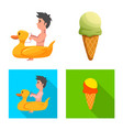 isolated object of pool and swimming icon set of vector image