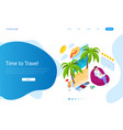 isometric tourism and booking app concept travel vector image vector image