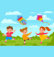 kids with kites boy and girl outside playing with vector image