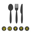 knife fork and spoon on white background vector image