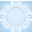 lace and pearl frame on blue background vector image vector image