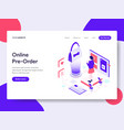 landing page template of online pre order vector image vector image