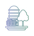 line water tank with grille and tree vector image vector image