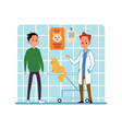 man and his pet cat visiting veterinary clinic vector image vector image