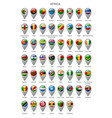 map marker set with flags africa vector image