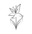 minimalist flower leaves tiny tattoo design line vector image vector image