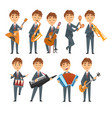 musicians boys playing different musical vector image vector image