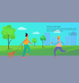 people spending time in park poster with text vector image vector image
