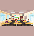 pupils study in classroom interior pupils in vector image