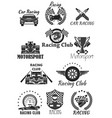 racing club and motorsport isolated symbol set vector image vector image