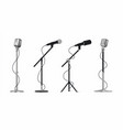 realistic microphones 3d professional metal mics vector image vector image