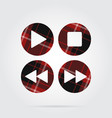 red black tartan icon four music control buttons vector image vector image