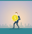 rich business man hold coin money finance success vector image