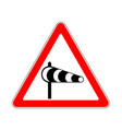 road sign warning crosswind on white background vector image vector image