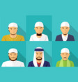 set of muslim man portrait in flat style vector image