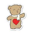 sticker of a cartoon teddy bear with love heart vector image