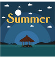 summer beach bungalow on island dark blue backgrou vector image vector image