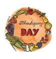 Thanksgiving dayDoodle harvest wreathwatercolor vector image vector image