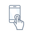 touchscreen icon with tablet or smartphone vector image vector image