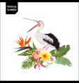 tropical summer design with pelican bird flowers vector image
