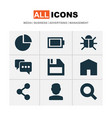 user icons set with battery share user and other vector image vector image