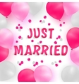 Wedding banner with baloons and floral petals vector image vector image