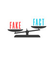 word fake outweighs word fact on balance vector image vector image