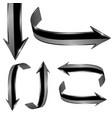 black arrows shiny 3d web icons set vector image