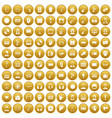 100 audience icons set gold vector image vector image