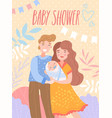 baby shower invitation template with happy parents vector image vector image